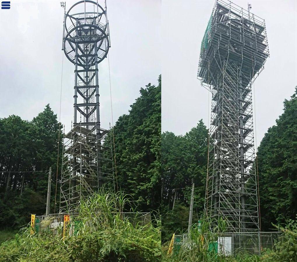 富士勢子辻無線局鉄塔 左の写真は途中まで足場を組んでいる様子。 右の写真は塔の上まで足場を組み上げた様子〔富士市〕 2019